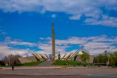 米斯克,白俄罗斯- 2018年5月01日:Stela,米斯克英雄城市方尖碑,在胜利公园标志的纪念碑室外看法  免版税库存图片