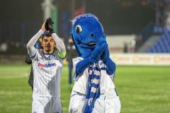 米斯克,白俄罗斯- 2018年3月31日:在白俄罗斯语英格兰足球超级联赛足球比赛期间,足球运动员庆祝目标 库存照片