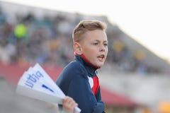 米斯克,白俄罗斯- 2018年5月23日:在FC发电机之间的白俄罗斯语英格兰足球超级联赛足球比赛期间小的爱好者起反应 免版税库存图片