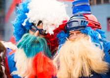 米斯克,白俄罗斯- 5月11 -在Chizhovka竞技场前面的捷克爱好者2014年5月11日在白俄罗斯 冰球冠军 图库摄影