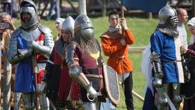 米斯克,白俄罗斯- 2017年5月20日:中世纪骑士争斗  免版税库存照片