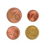 米斯克,白俄罗斯- 2016年4月16日:四eurocent的欧盟 1, 2, 5, 10 e 免版税库存图片