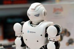 米斯克,白俄罗斯- 2017年4月18日:机器人有人的特点的Ubtech在TIBO-2017的Aplha 1S第24个国际性组织专门了研究关于Telecommu的论坛 免版税库存照片