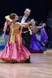 米斯克,白俄罗斯2月14日2015年:谢尔盖资深舞蹈夫妇  库存照片