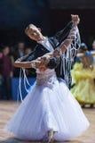 米斯克,白俄罗斯2月14日2015年:A专业舞蹈夫妇  免版税图库摄影
