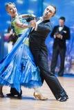 米斯克,白俄罗斯2月14日2015年:D专业舞蹈夫妇  免版税库存照片
