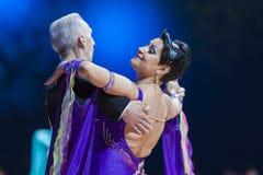 米斯克,白俄罗斯2月14日2015年:Evgeniy资深舞蹈夫妇  免版税库存照片