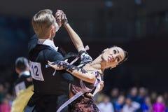 米斯克,白俄罗斯2月14日2015年:P专业舞蹈夫妇  库存图片