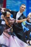 米斯克,白俄罗斯2月14日2015年:P专业舞蹈夫妇  库存照片