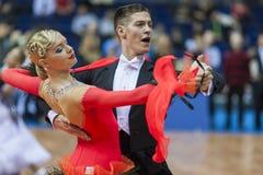 米斯克,白俄罗斯2月14日2015年:S专业舞蹈夫妇  库存照片