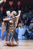 米斯克,白俄罗斯2月14日2015年:Yaroshe资深舞蹈夫妇  免版税库存图片