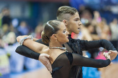 米斯克,白俄罗斯2月14,2015 :专业舞蹈夫妇嘘 库存图片