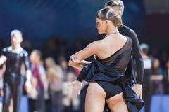 米斯克,白俄罗斯2月14,2015 :专业舞蹈夫妇嘘 库存照片