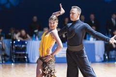 米斯克,白俄罗斯2月14,2015 :二专业舞蹈夫妇  免版税库存照片