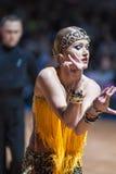 米斯克,白俄罗斯2月14,2015 :二专业舞蹈夫妇  免版税库存图片