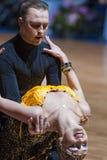 米斯克,白俄罗斯2月14,2015 :二专业舞蹈夫妇  免版税图库摄影
