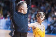 米斯克,白俄罗斯2月14,2015 :二专业舞蹈夫妇  库存照片