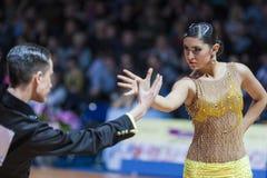 米斯克,白俄罗斯2月14,2015 :未认出的专业舞蹈 免版税库存图片