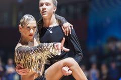 米斯克,白俄罗斯2月14,2015 :未认出的专业舞蹈 免版税库存照片