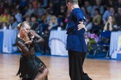 米斯克,白俄罗斯2月14,2015 :Ch专业舞蹈夫妇  免版税库存照片