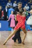 米斯克,白俄罗斯2月14,2015 :Tc专业舞蹈夫妇  免版税库存图片