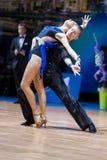 米斯克,白俄罗斯2月14,2015 :Tc专业舞蹈夫妇  免版税库存照片