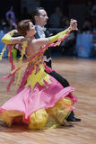 米斯克,白俄罗斯Febriary 14日2015年:谢尔盖资深舞蹈夫妇  免版税图库摄影