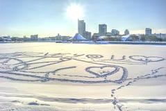 米斯克 脚印雪时间冬天 库存照片
