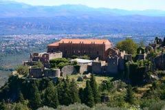 米斯特拉斯考古学站点的,希腊暴君宫殿 库存照片