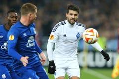 米格尔・维罗索和球画象、UEFA欧罗巴16在发电机之间的秒腿比赛同盟回合和埃弗顿 免版税库存图片