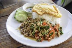 米用与蓬蒿叶子的混乱油煎的猪肉在白色盘 库存图片