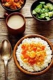 米用咖喱花椰菜 免版税库存照片
