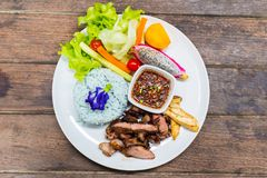 米用格栅猪肉和沙拉 免版税库存照片