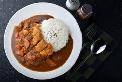 米用被油炸的猪肉和咖喱 免版税库存图片