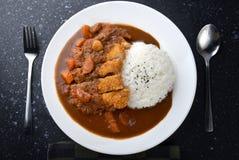 米用被油炸的猪肉和咖喱 库存照片