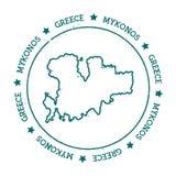 米科诺斯岛传染媒介地图 免版税库存照片