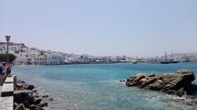 米科诺斯岛口岸,希腊 免版税库存图片