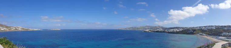 米科诺斯岛希腊全景  免版税库存照片