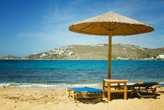 米科诺斯岛海滩 免版税库存照片