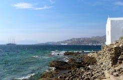 米科诺斯岛镇,米科诺斯岛,希腊 免版税图库摄影