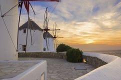 米科诺斯岛风车, Chora,希腊 免版税图库摄影