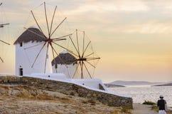 米科诺斯岛风车, Chora,希腊 库存照片