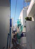 米科诺斯岛,希腊街道  免版税图库摄影