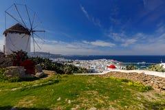 米科诺斯岛 一台老传统风车 免版税图库摄影