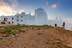 米科诺斯岛 圣洁的贞女的教会 免版税库存图片