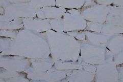米科诺斯美丽的白色石墙  木背景详细资料老纹理的视窗 免版税库存图片