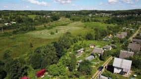 米空中英尺长度或麦田和村庄 股票录像