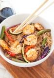 米线用虾和菜 免版税库存照片