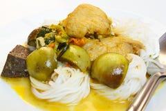 米线用鸡绿色咖喱。 免版税库存照片