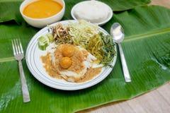 米细面条用鱼咖喱汁和菜泰国食物关于 库存照片